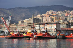 Shipyard - industrial view, Genoa, Italy. Cranes, boats, stock in Genoa Stock Photo