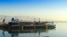Shipyard. In the industrial zone of Eleusis, Athens - Greece royalty free stock photo