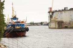 Shipyard industry, ship building, floating dry dock in shipyard Stock Images