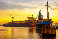 Shipyard. In the morning light on Gdansk, Poland Royalty Free Stock Images