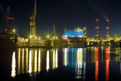Shipyard at night Stock Image