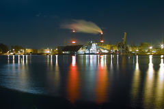 Shipyard at night Stock Photo