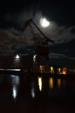 Shipyard by night Royalty Free Stock Image