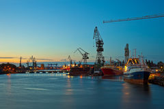 Shipyard at night. View of the quay shipyard of Gdansk, Poland Royalty Free Stock Photos