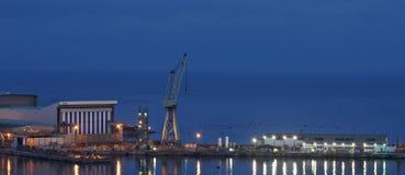 Shipyard in the night. Shipyard. Docks. Night. Bay of Naples. Castellammare Royalty Free Stock Image