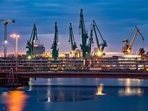Shipyard at night. Industrial view of the Gdansk Shipyard at night, Poland Stock Photo