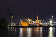 Shipyard at night Stock Photography
