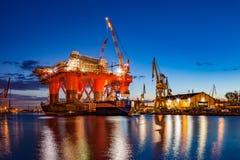 Shipyard at night Stock Image