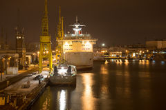 Shipyard at night Royalty Free Stock Image