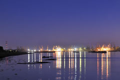 Shipyard in night time. On danube river Stock Images