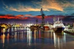 Shipyard at night. View of the quay shipyard of Gdansk, Poland Royalty Free Stock Image