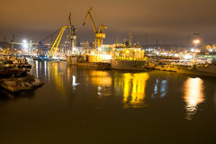 Shipyard at night Royalty Free Stock Photography
