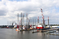 Shipyard for Off Shore Platforms Stock Images
