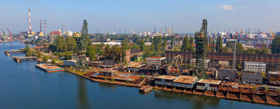 Shipyard panoramic view Stock Photo