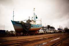 Shipyard by a rainy day Royalty Free Stock Photos