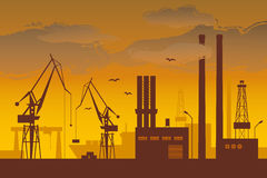 Shipyard. Ship in the shipyard at dusk vector illustration