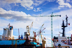 Shipyard. Ship under construction, repair. Industrial Royalty Free Stock Image