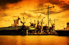 Shipyard. Ship under construction, repair. Industrial Royalty Free Stock Photo