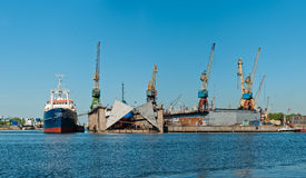 Shipyard with ships panorama Stock Photos