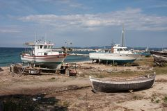 A shipyard for small boats at the Aegean Sea, Greece royalty free stock image