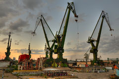 Shipyard at sunset Stock Images