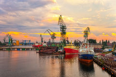 Shipyard at sunset Royalty Free Stock Image