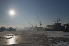 Shipyard winter season Royalty Free Stock Photography