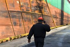 Shipyard worker Stock Photo