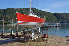 Shipyard & Yacht Being Maintained at Waikawa, New Zealand Royalty Free Stock Images
