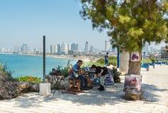 Shir Nash playing guitar in Jaffa Stock Photos