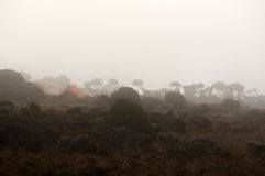 Shira camp on Machame route in fog Stock Photos