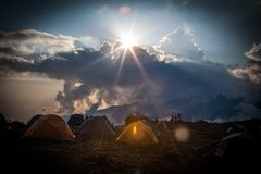 Shira Camp at Machame Route royalty free stock images