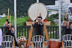 Shirahama Hanabi Festival. The Taiko drummers performed for a few hours before the fireworks festival starts in Shirahama beach, Izu Peninsular, Japan Stock Image
