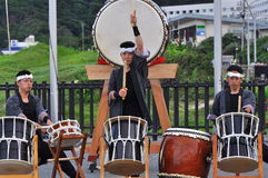 Shirahama Hanabi Festival. The Taiko drummers performed for a few hours before the fireworks festival starts in Shiharama beach, Izu Peninsular, Japan Royalty Free Stock Photography