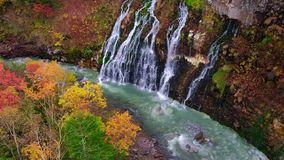 Shirahige Waterfall in Fall and Autumn Season, Hokkaido, Japan. Wide Shot stock video footage