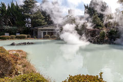 Shiraike Jigoku White Pond Hell is one of the tourist attractions representing the various hells at Beppu Onsen, Oita. BEPPU, OITA, JAPAN - MARCH 14, 2017 stock photo