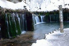 Shiraito结冰的瀑布在日本 免版税库存照片