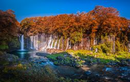 Shiraito Falls with Colorful autumn leaf in Fujinomiya, Shizuoka, Japan. royalty free stock photo