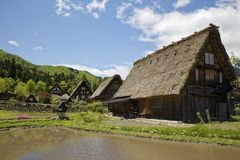 Shirakawa-gō. The Historic Villages of Shirakawa-gō and Gokayama are one of Japan`s UNESCO World Heritage Sites. The cultural property consists of three Royalty Free Stock Photo