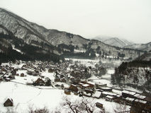 Shirakawa-go. Snow covered view of Shirakawa-go in Japan, from the viewpoint area stock photo