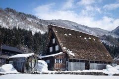 Shirakawa-go, Japan - March 2015: Snow-Covered Gassho-Styled House Stock Photo