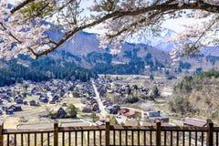 Shirakawa-go village as seen from Tenshukaku Observatory, Japan Stock Photo