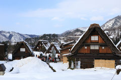 SHIRAKAWA, JAPAN - JANUARY 18: Tourists visit old village on JAN Royalty Free Stock Photos
