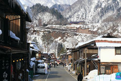 SHIRAKAWA, JAPAN - JANUARY 18: Tourists visit old village on JAN Royalty Free Stock Image
