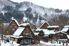 SHIRAKAWA, JAPAN - JANUARY 18: Tourists visit old village on JAN Stock Photos