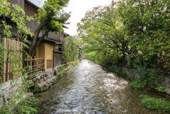 Shirakawa river canal, Gion. View of Shirakawa river, near the streets of Gion, a Geisha district of traditional Kyoto. Japan Stock Photo