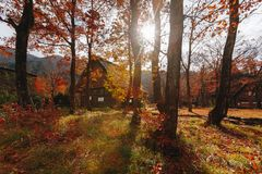 Shirakawa village in late november autumn to winter season Stock Photos