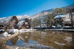 Shirakawa-vada nell'inverno Immagini Stock Libere da Diritti