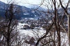Shirakawa-vaya en el invierno, Japón imagenes de archivo