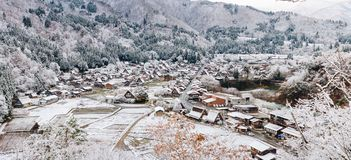 Shirakawa village in late november autumn to winter season Panor Stock Images